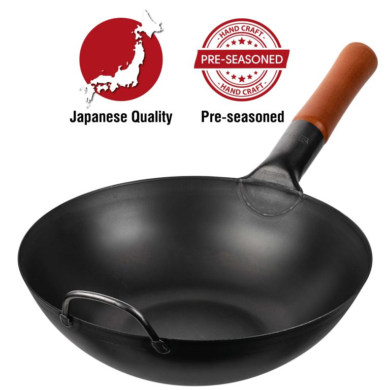 "Yosukata 11.8"" Black Carbon Steel Wok Pre-Seasoned"