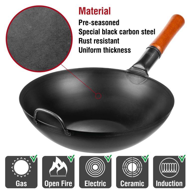 "Yosukata 13.5"" Black Carbon Steel Wok Pan"