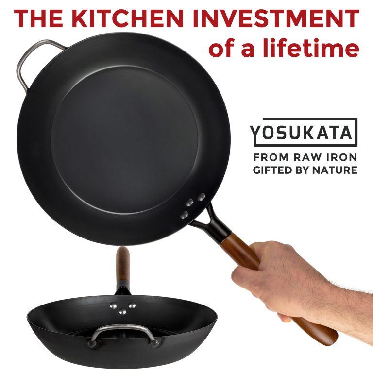 "Yosukata 11.8"" Black Carbon Steel Skillet"