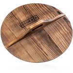 "Small Yosukata 14"" Wooden Lid for Carbon Steel & Cast Iron Woks"