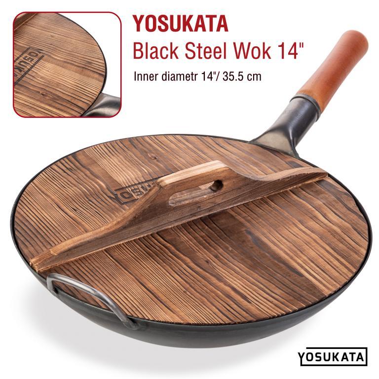 "Yosukata 14"" Wooden Lid for Carbon Steel & Cast Iron Woks"